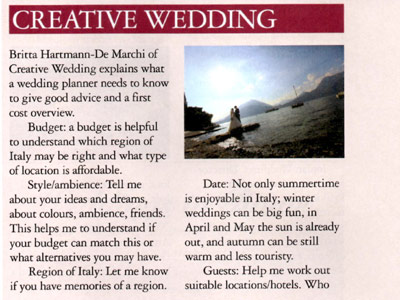 "Creative Wedding im Magazin ""Italia!"""