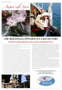 "Creative Wedding in ""Lake Como Lifestyle Magazine"""